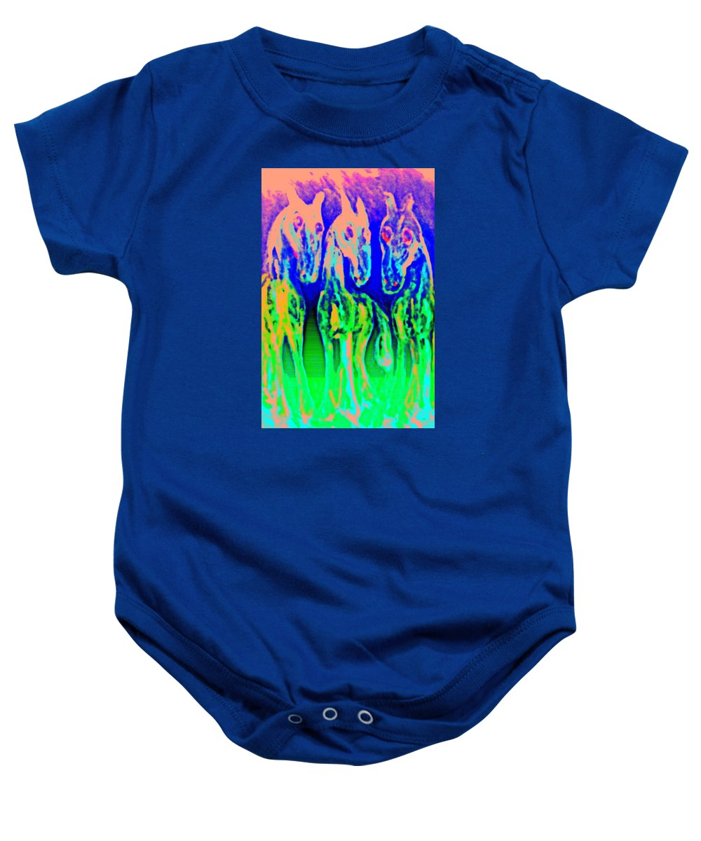 Horses Baby Onesie featuring the painting They Call Us The Jolly Trolls And We Call Them Just Stupid by Hilde Widerberg