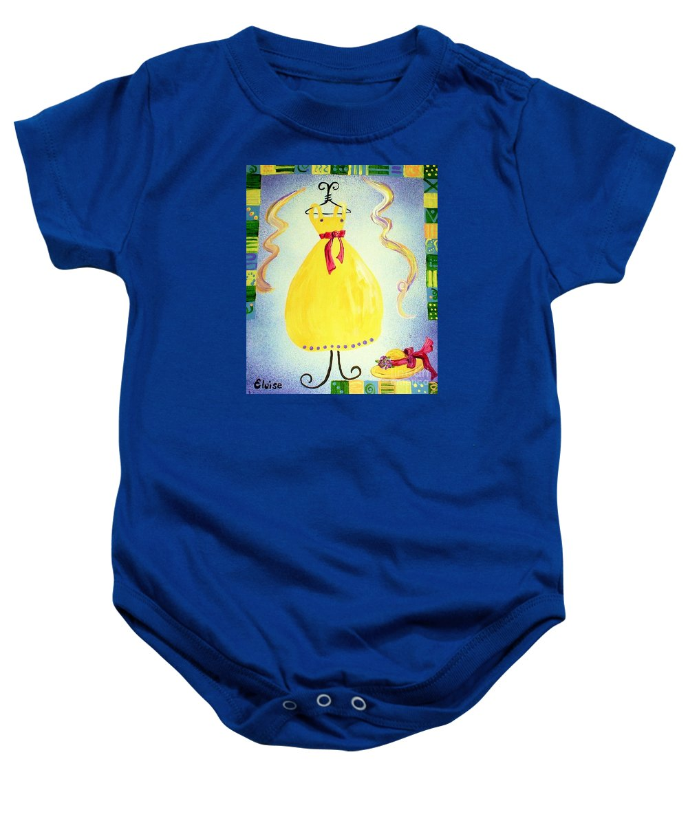 Dress Baby Onesie featuring the painting Just A Simple Hat And Dress by Eloise Schneider Mote