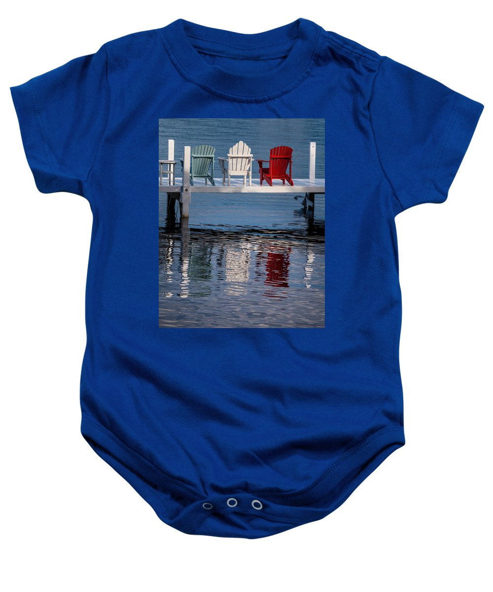 Chair Baby Onesie featuring the photograph Lakeside Living Number 2 by Steve Gadomski