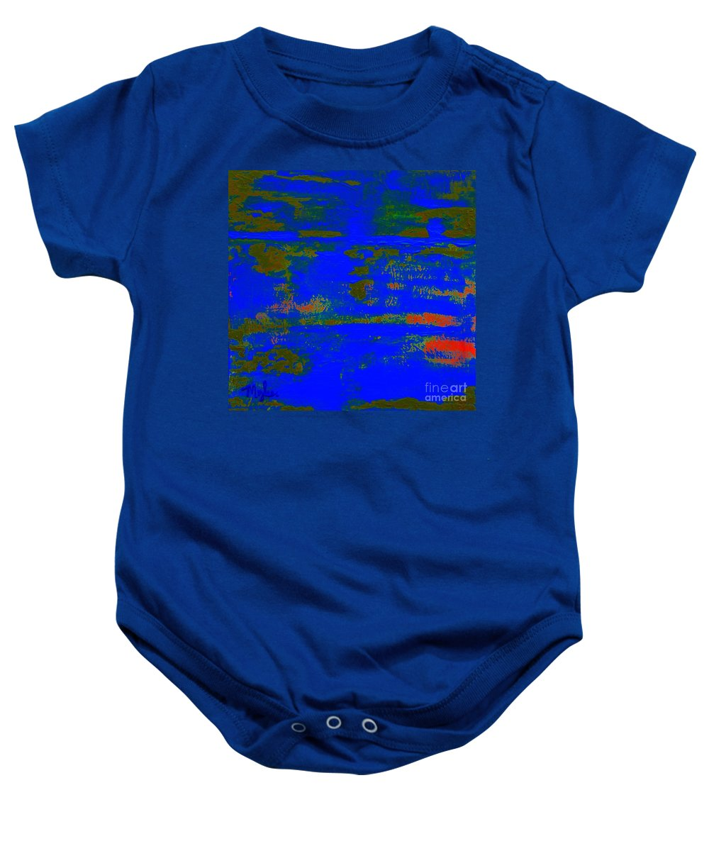 Abstract Baby Onesie featuring the painting Land And Water 2 by Saundra Myles