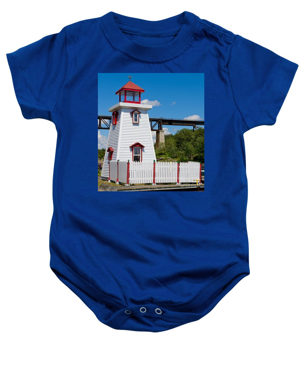 Lighthouse Baby Onesie featuring the photograph Lighthouse And Bridge by Les Palenik