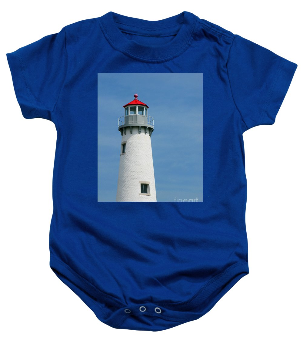 Lighthouse Baby Onesie featuring the photograph Lighthouse by Ann Horn