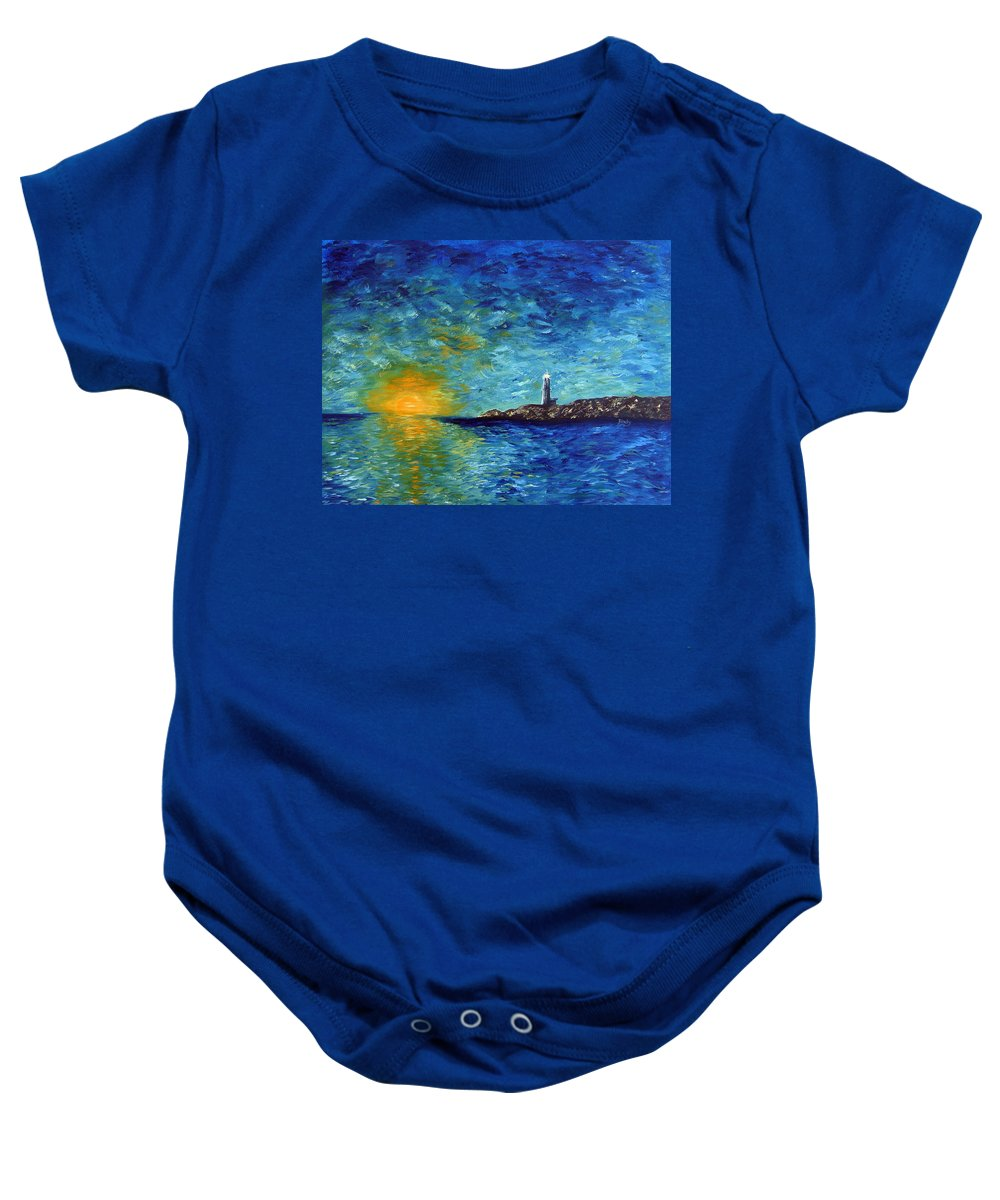 Lighthouse Baby Onesie featuring the painting Lighthouse by Donna Blackhall