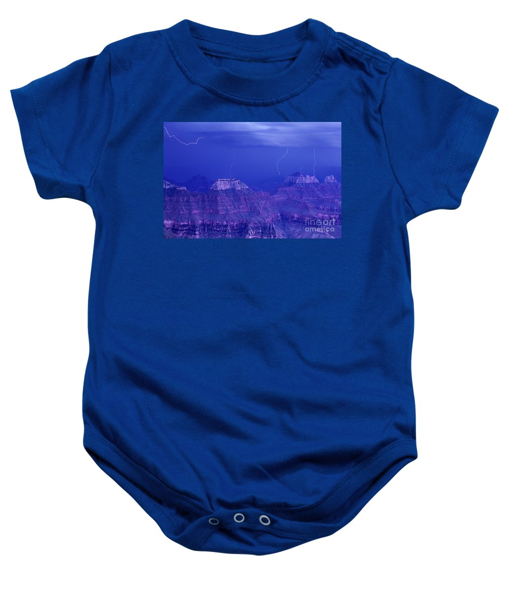 North America Baby Onesie featuring the photograph Lightning Strkes At The North Rim Grand Canyon National Park by Dave Welling