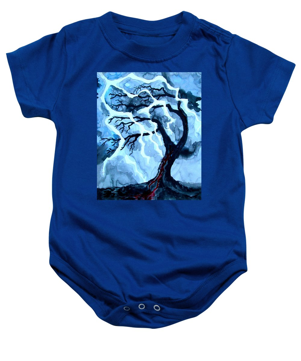 Tree Baby Onesie featuring the painting Lightning Tree by Linda Williams