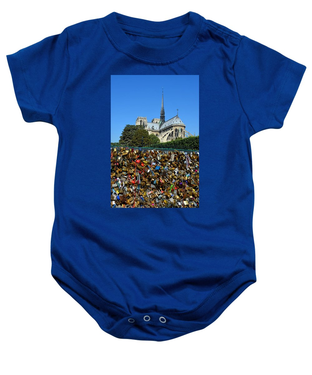 Notre Dame Cathedral Baby Onesie featuring the photograph Locks Galore On The Pont De L'archeveche In Paris by Carla Parris