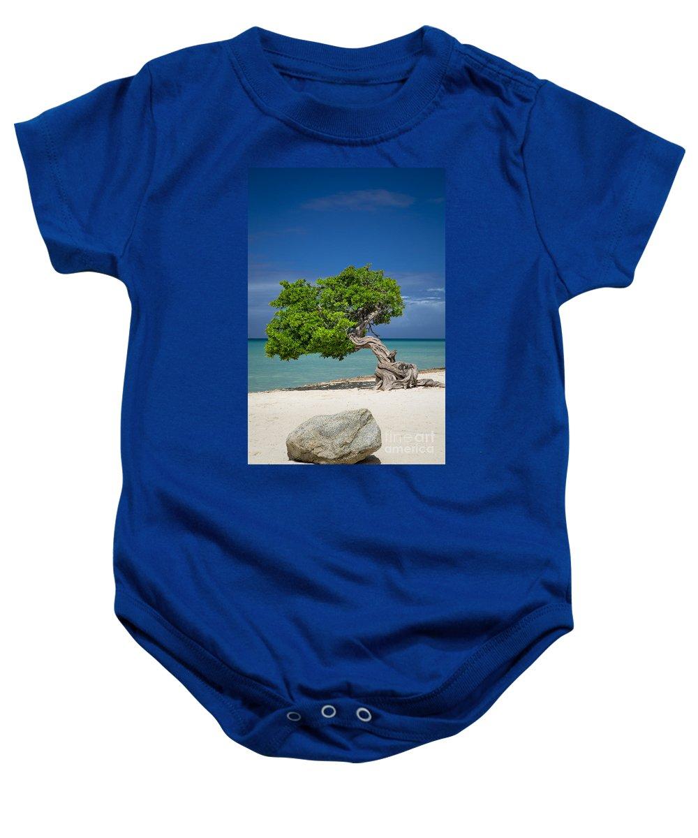 Aruba Baby Onesie featuring the photograph Lone Tree - Aruba by Brian Jannsen