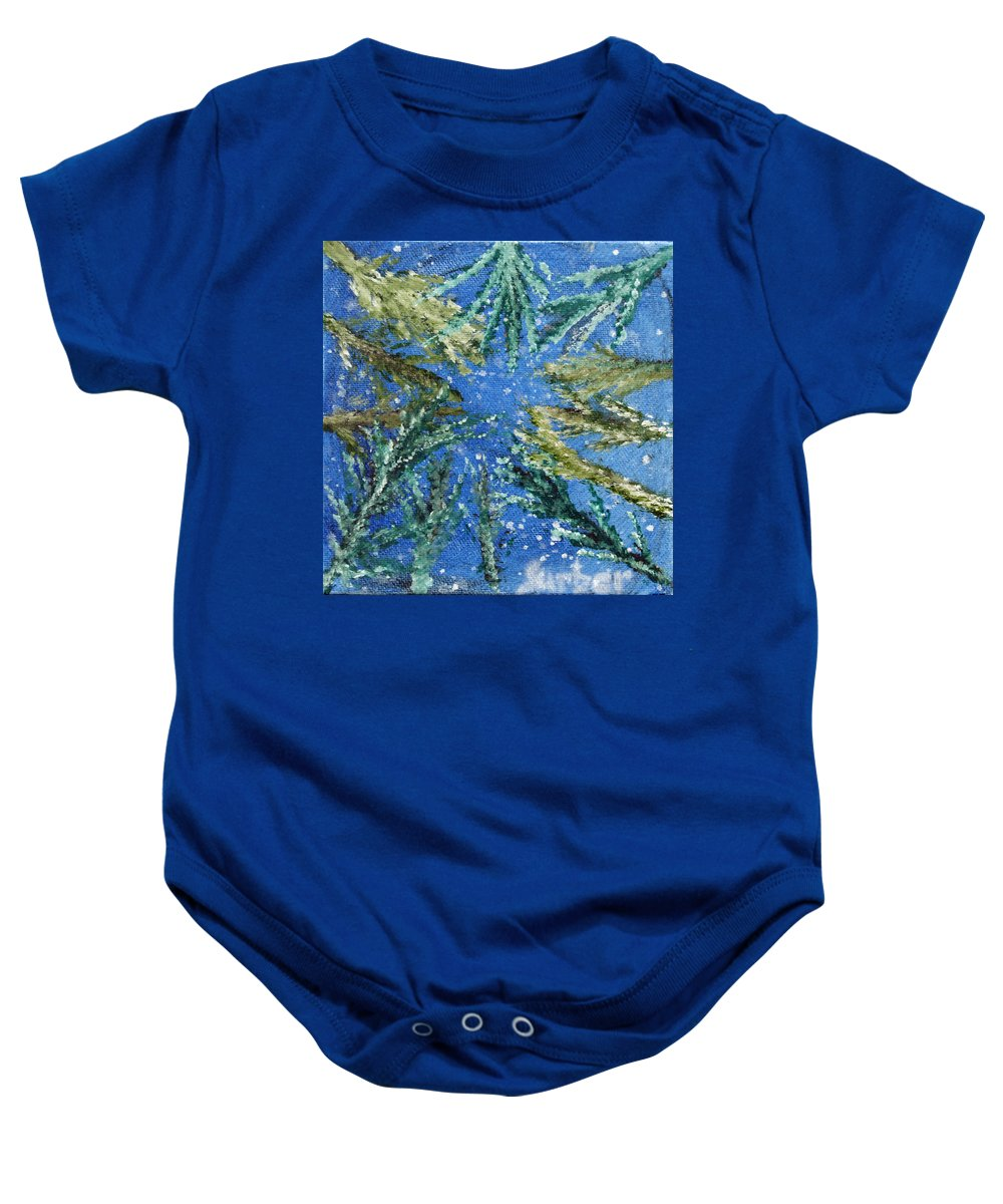 Trees Baby Onesie featuring the painting Looking Up Through The Trees by Suzanne Surber