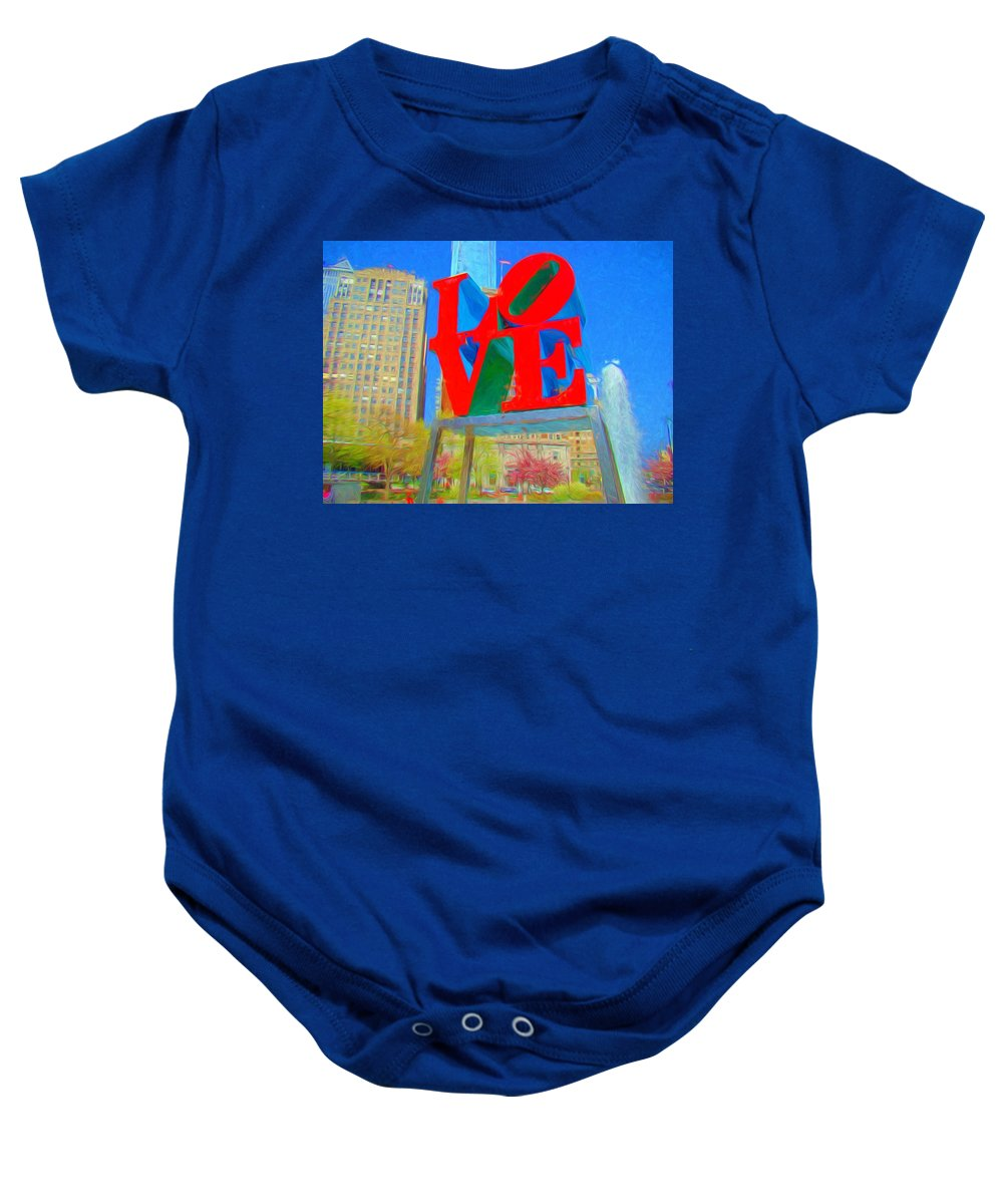 Love Park Baby Onesie featuring the photograph Love And Cherry Blossoms by Alice Gipson