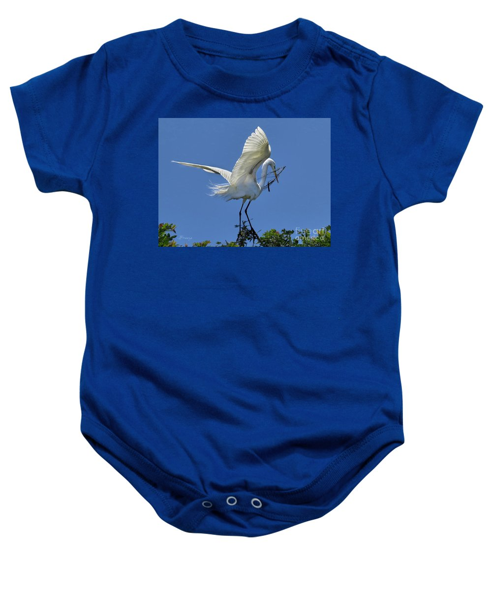 Egret Baby Onesie featuring the photograph Maintaining The Nest by Jennie Breeze