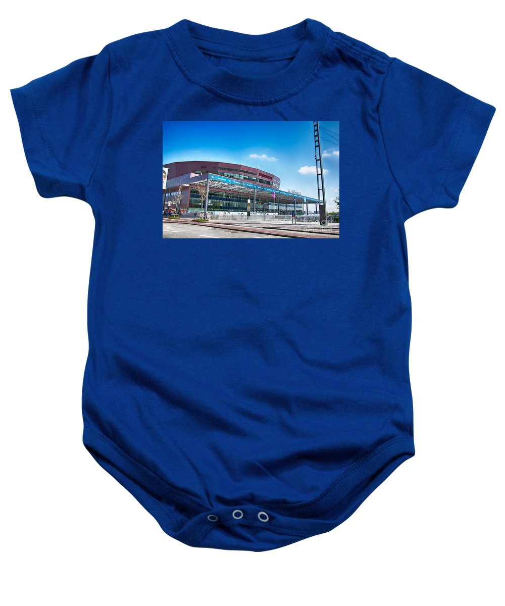 Malmo Baby Onesie featuring the photograph Malmo Arena 08 by Antony McAulay