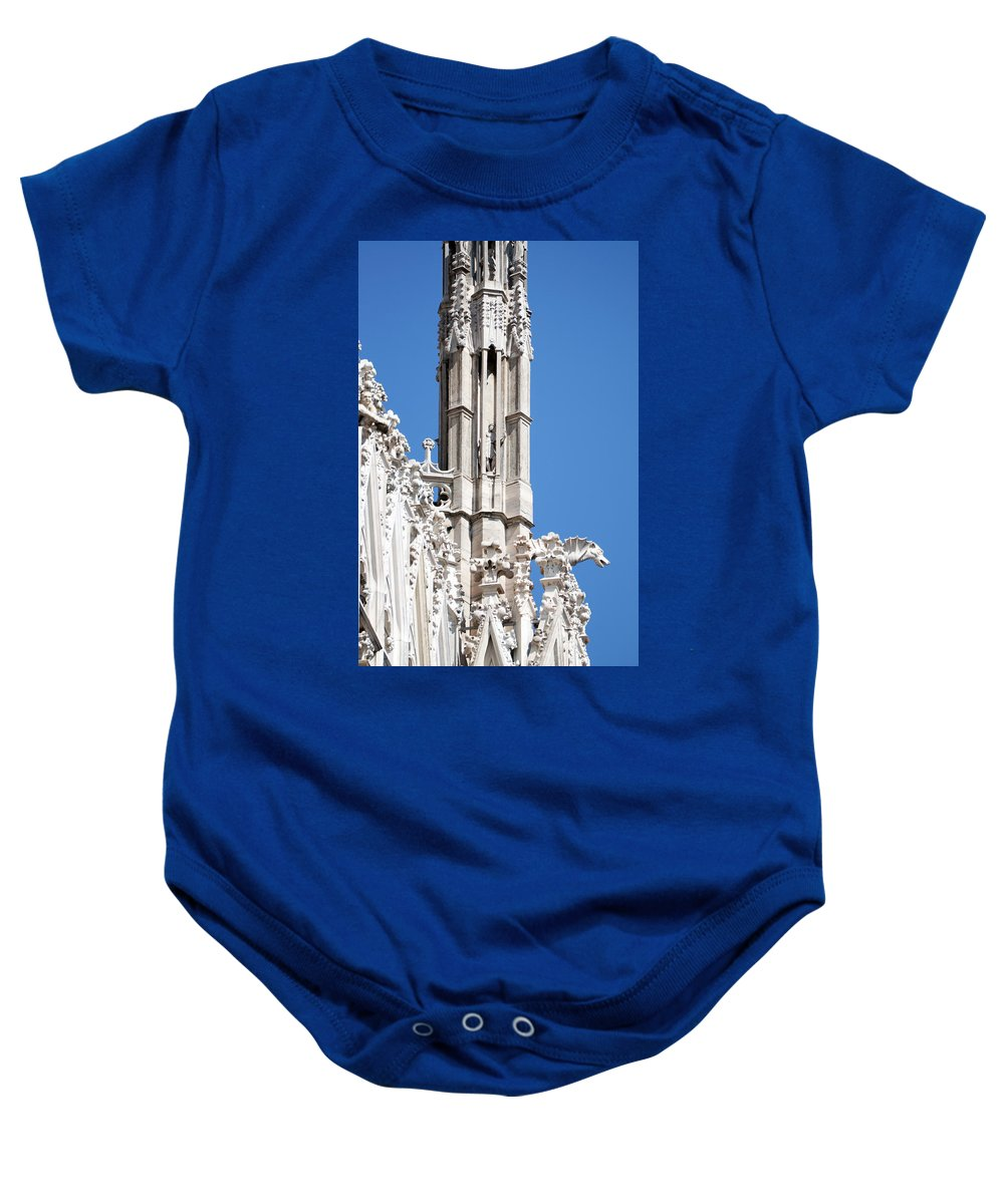 Vertical Baby Onesie featuring the photograph Man And Dragon Gargoyles With Tower Duomo Di Milano Italia by Sally Rockefeller