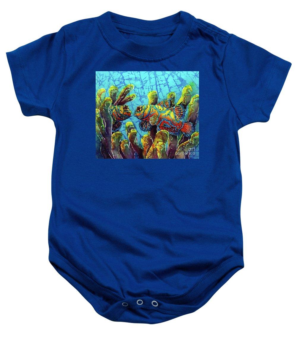 Mandarinfish Baby Onesie featuring the painting Mandarinfish by Sue Duda