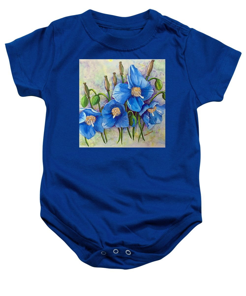Blue Hymalayan Poppy Baby Onesie featuring the painting Meconopsis  Himalayan Blue Poppy by Karin Dawn Kelshall- Best