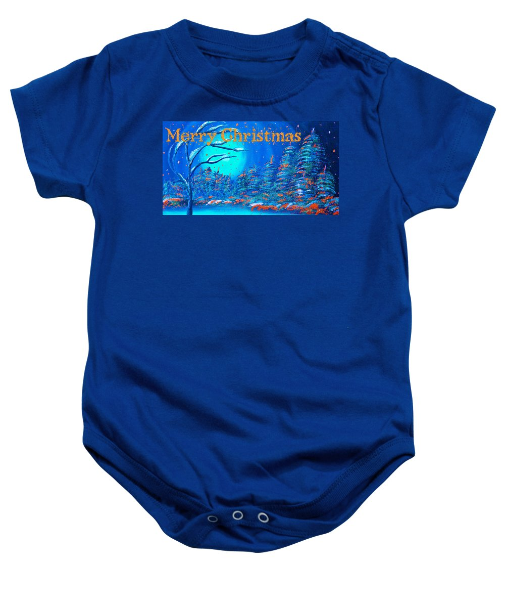 Merry Christmas Baby Onesie featuring the painting Merry Christmas Wish V3 by Alex Art and Photo