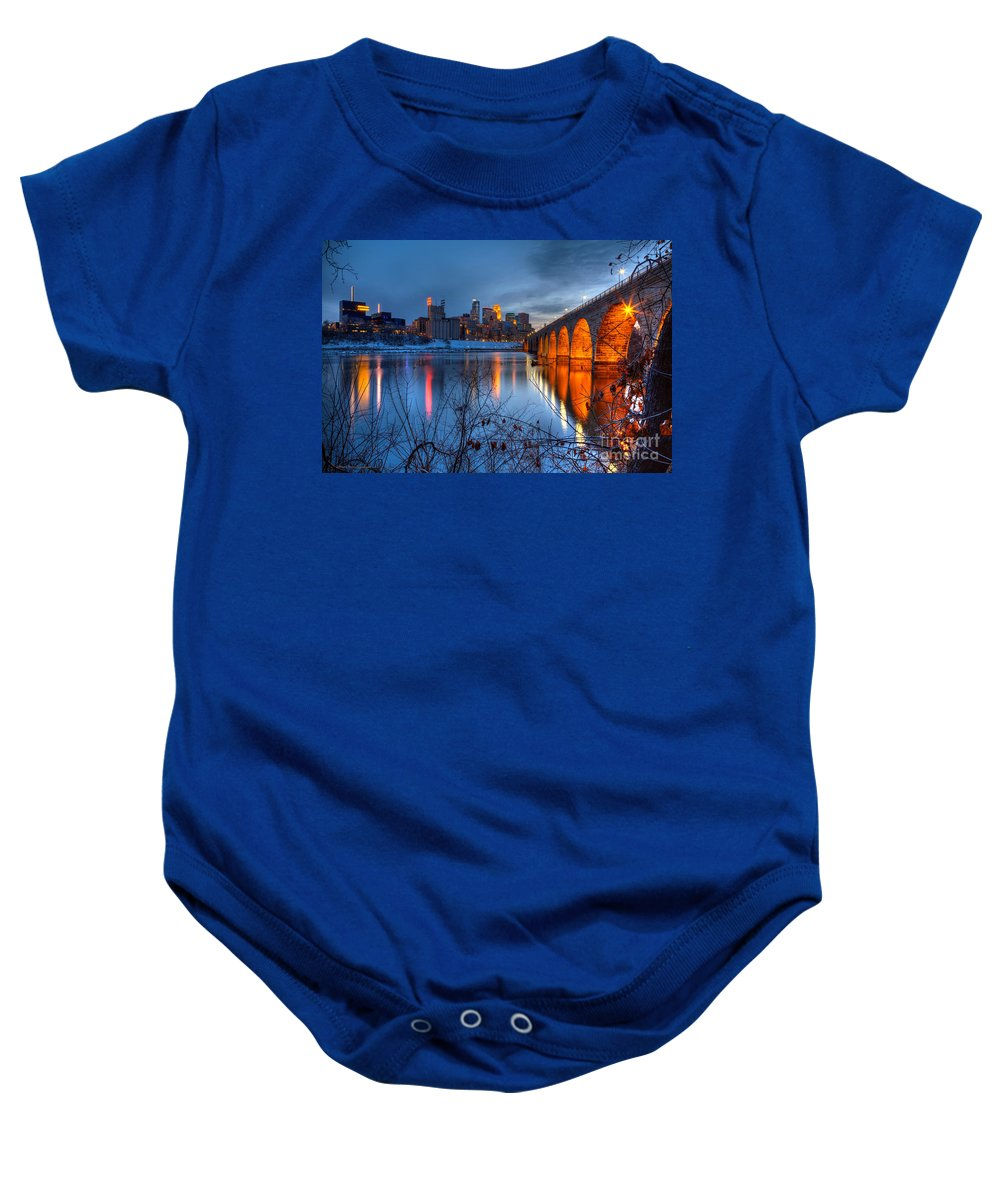 Minneapolis Skyline Baby Onesie featuring the photograph Minneapolis Skyline Images Stone Arch Bridge Spring Evening by Wayne Moran