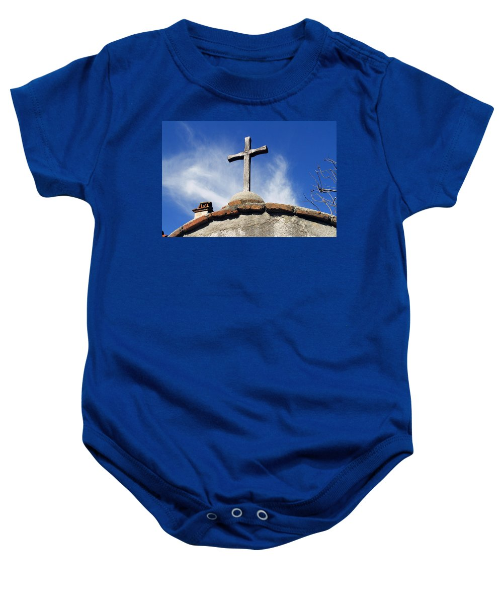 Religious Baby Onesie featuring the photograph Mission Cross by Shoal Hollingsworth