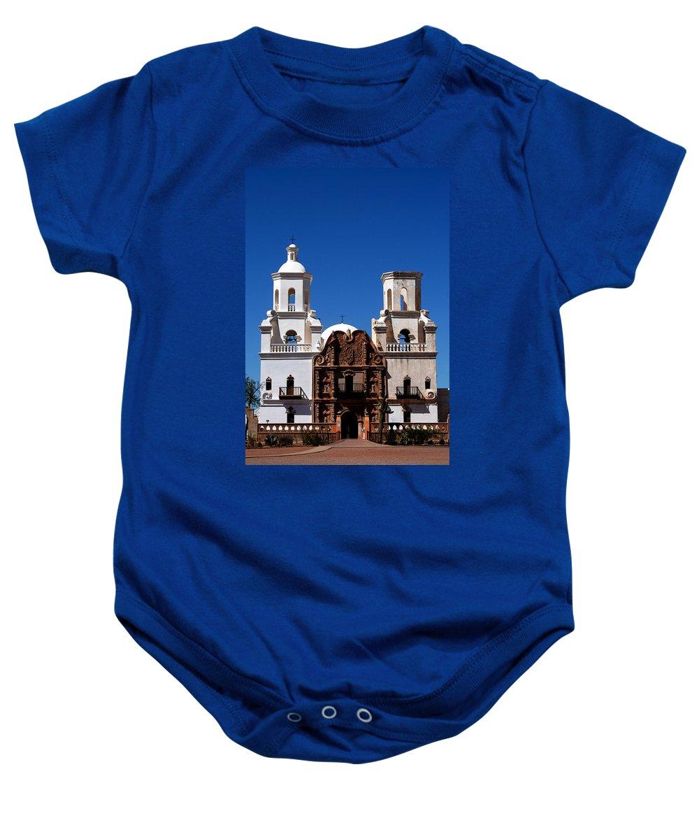 Church Baby Onesie featuring the photograph Mission San Xavier Del Bac by Joe Kozlowski