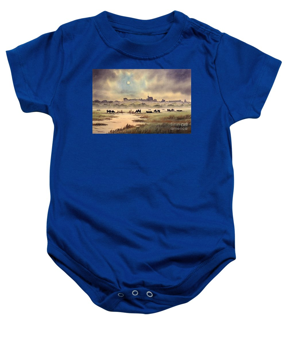 Windsor Baby Onesie featuring the painting Misty Sunrise - Windsor Meadows by Bill Holkham
