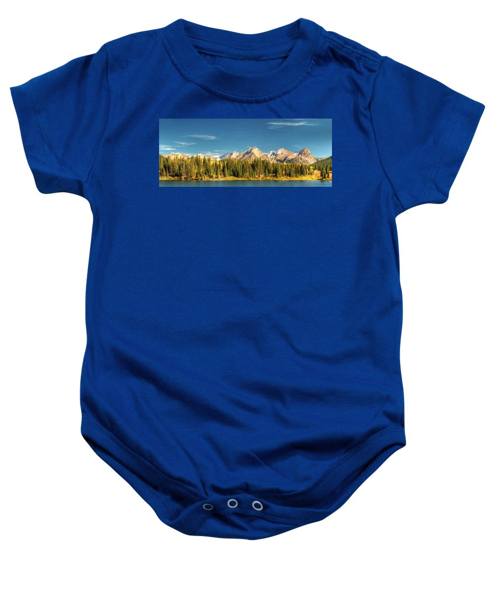 The Needles Baby Onesie featuring the photograph Molas Lake And The Needles Pan 1 by Ken Smith