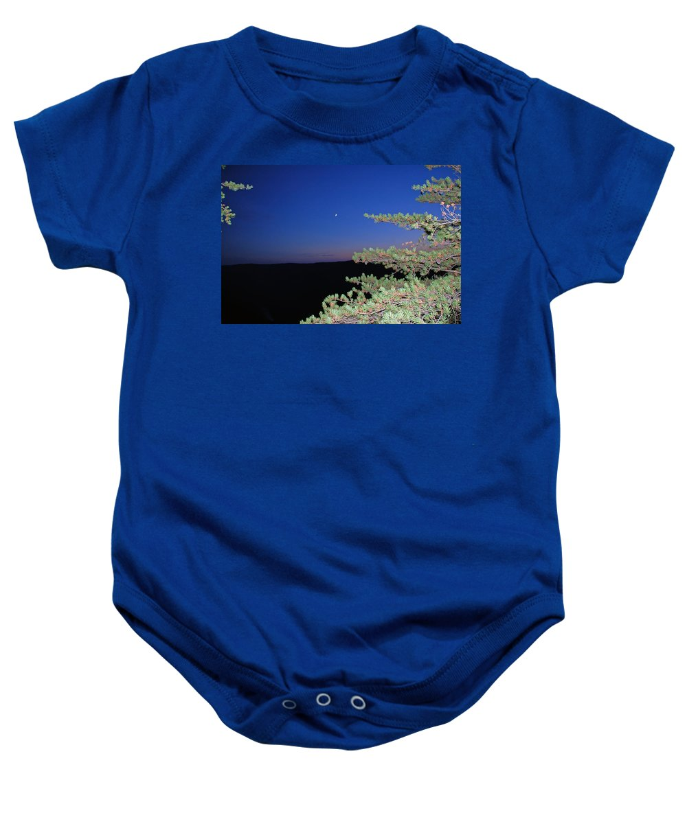 Moon Baby Onesie featuring the photograph Moon Over Mountain by Aimee L Maher ALM GALLERY