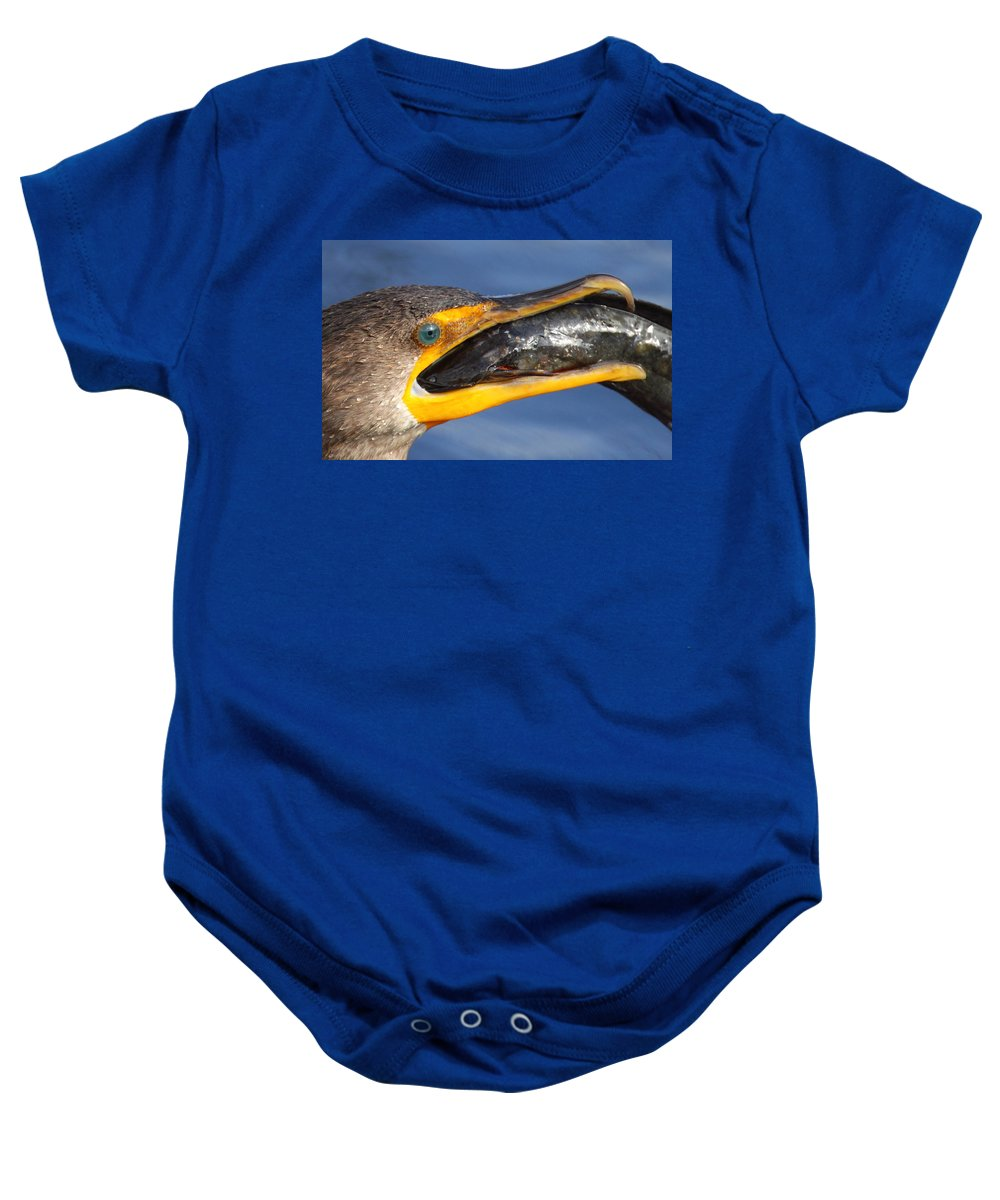 Cormorant Baby Onesie featuring the photograph More Than A Mouthfull by Bruce J Robinson