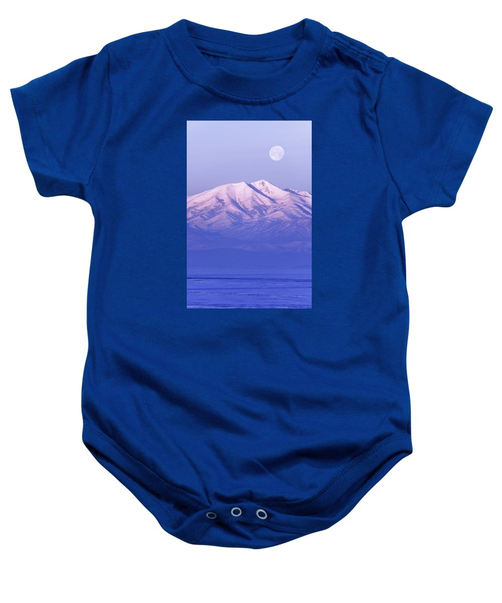 Morning Moon Baby Onesie featuring the photograph Morning Moon by Chad Dutson