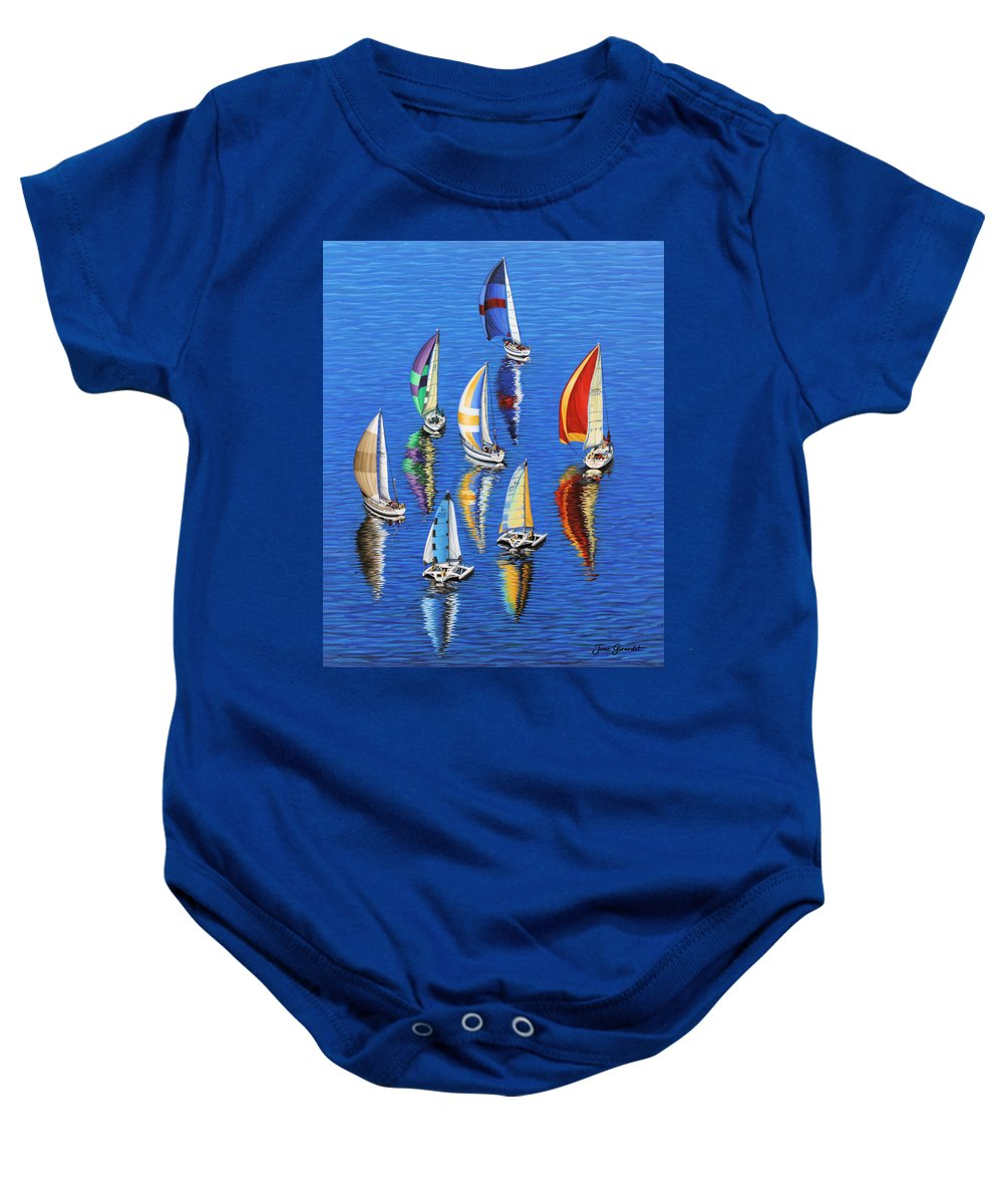 Ocean Baby Onesie featuring the painting Morning Reflections by Jane Girardot
