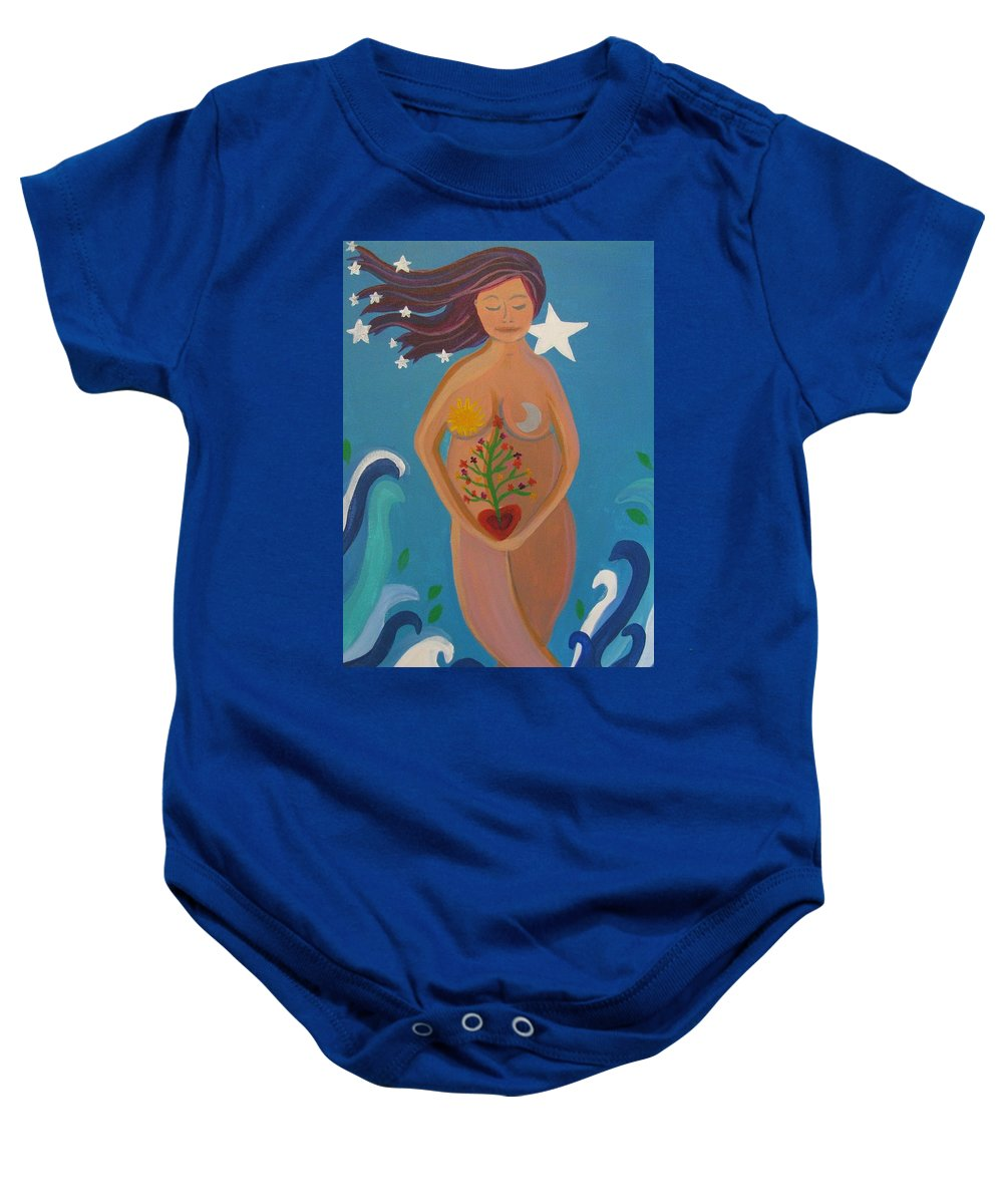 Motherhood Baby Onesie featuring the painting Mother Earth by Kelly Simpson