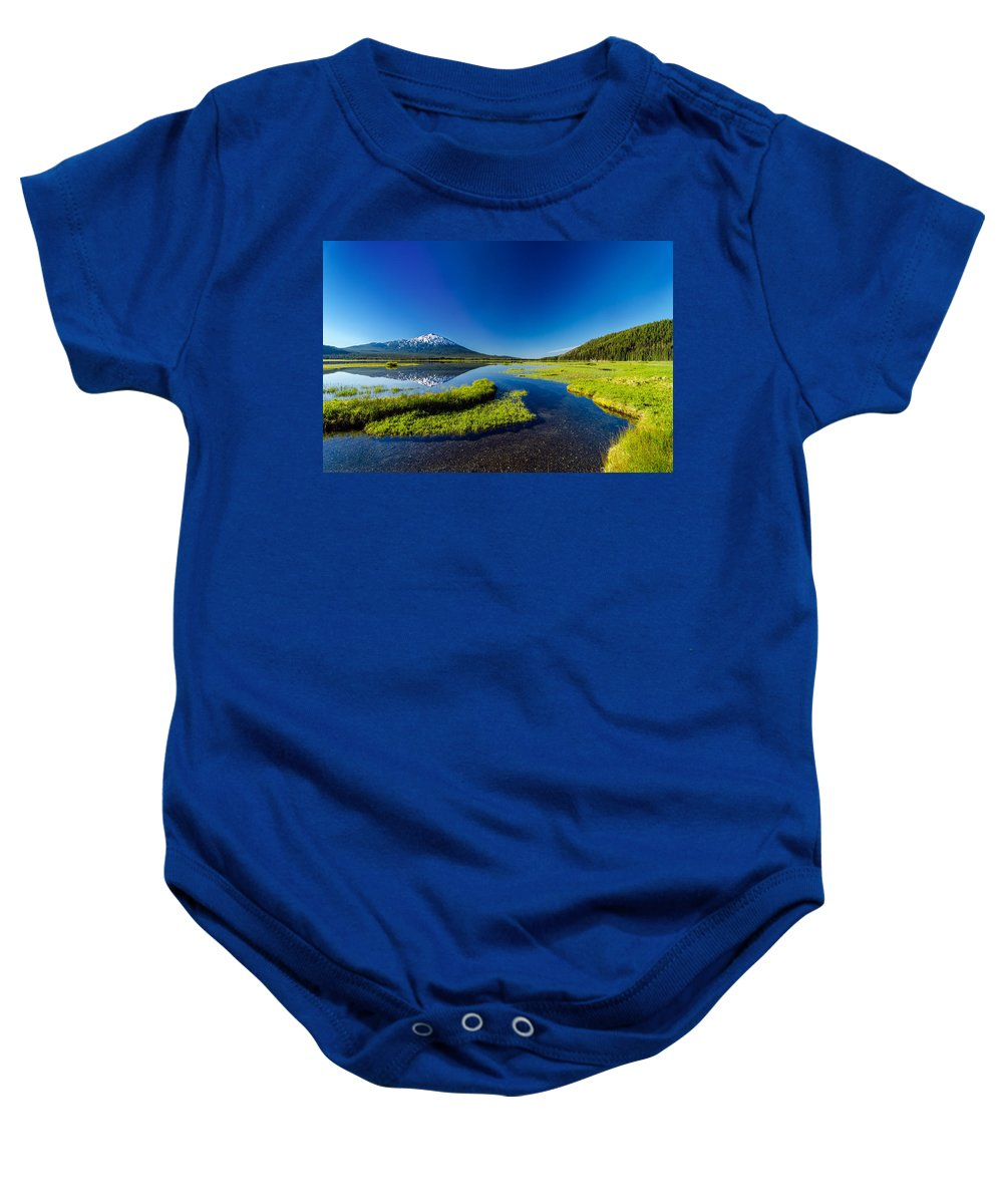 Mountain Baby Onesie featuring the photograph Mt. Bachelor Reflection And Forest by Jess Kraft