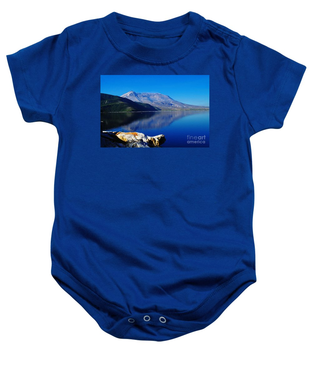 Mountains Baby Onesie featuring the photograph Mt St Helens Reflecting Into Spirit Lake  by Jeff Swan