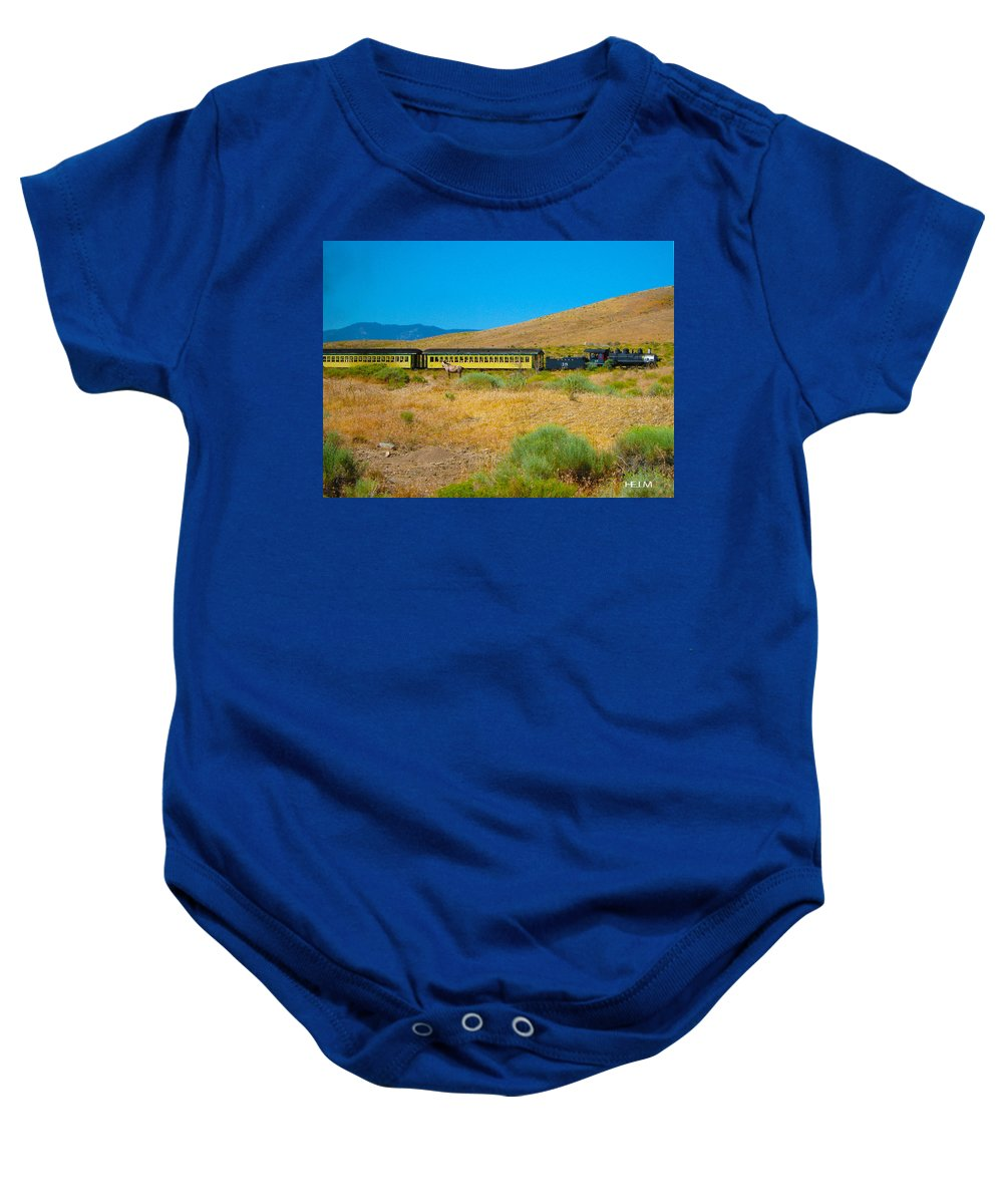 Horse Photographs Baby Onesie featuring the photograph Mustang Days by Mayhem Mediums