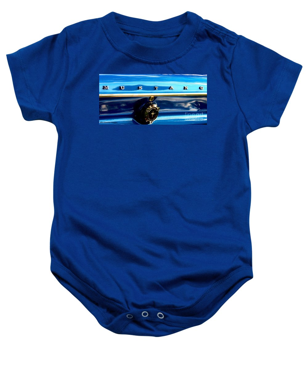 Mustang Prints Baby Onesie featuring the photograph Mustang Logo by Bobbee Rickard