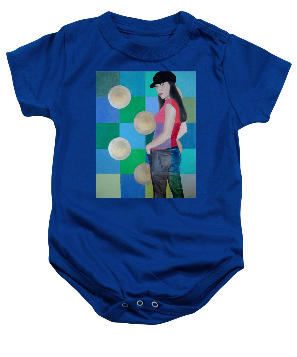Black Cap Baby Onesie featuring the painting My Black Cap by Lynet McDonald