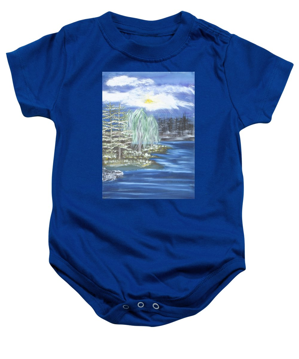 Trees Baby Onesie featuring the painting Mysterious Trees by Suzanne Surber