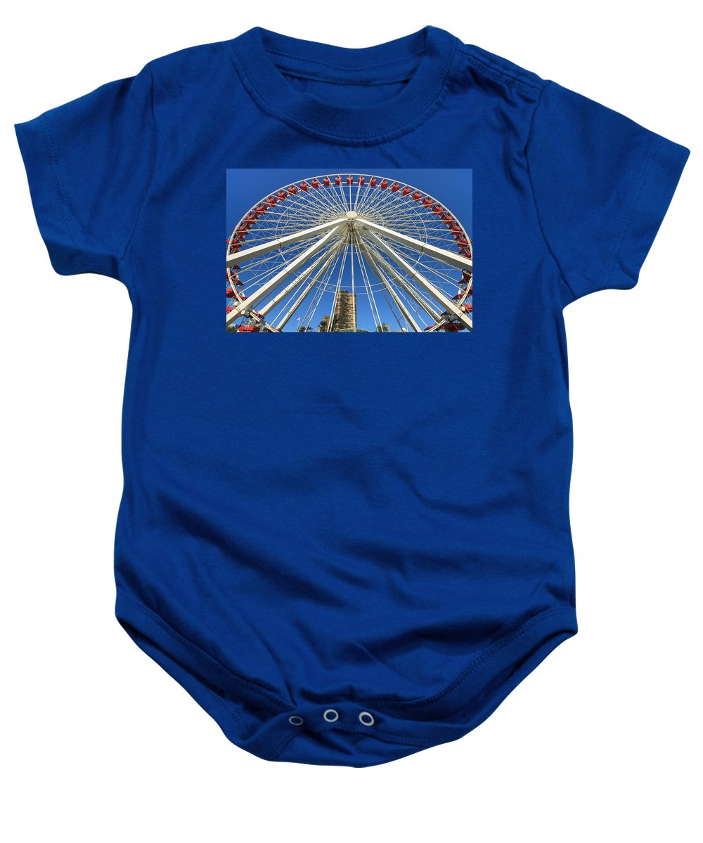 Architecture Baby Onesie featuring the photograph Navy Pier Ferris Wheel by Raul Rodriguez