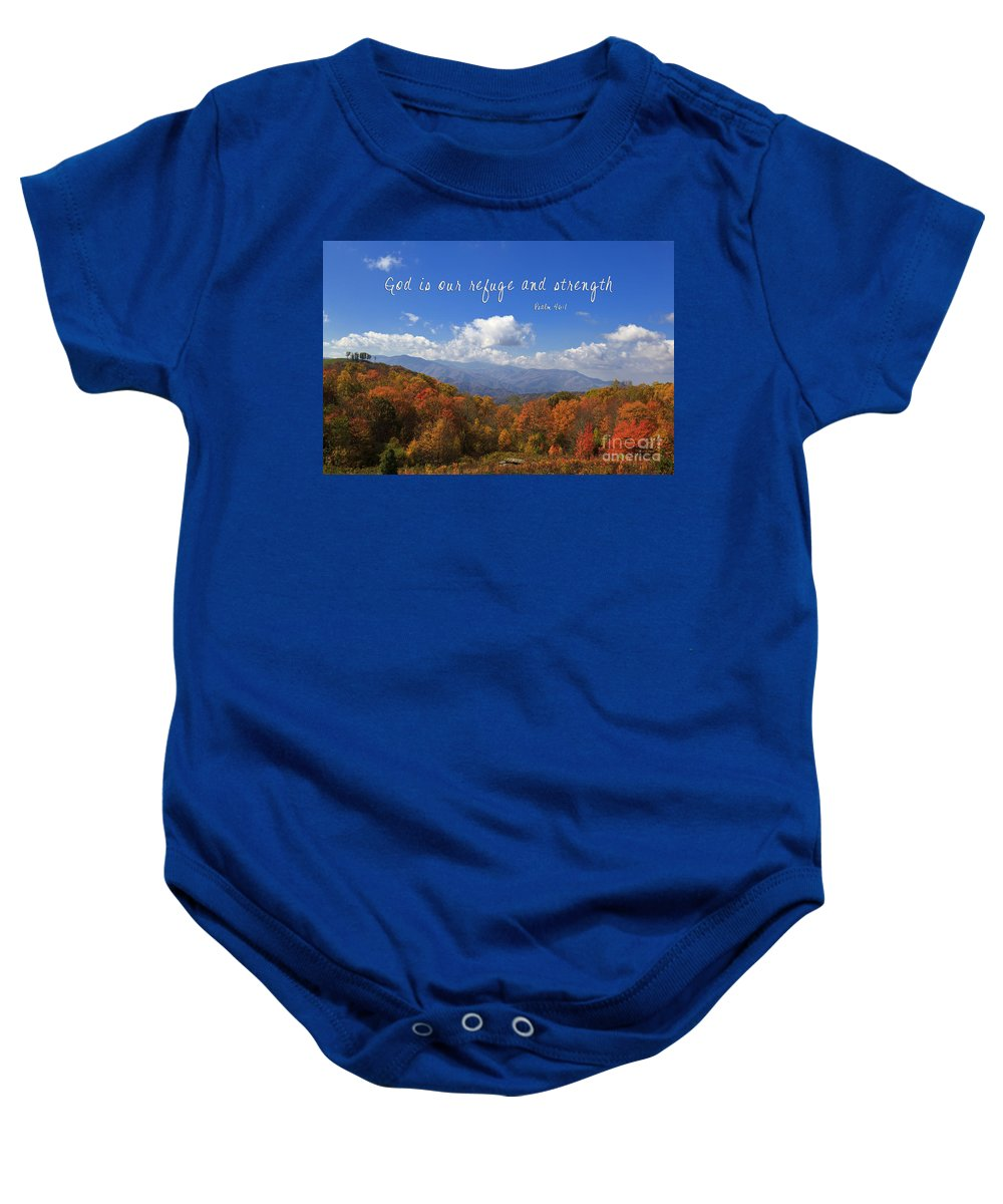 Max Baby Onesie featuring the photograph Nc Mountains With Scripture by Jill Lang