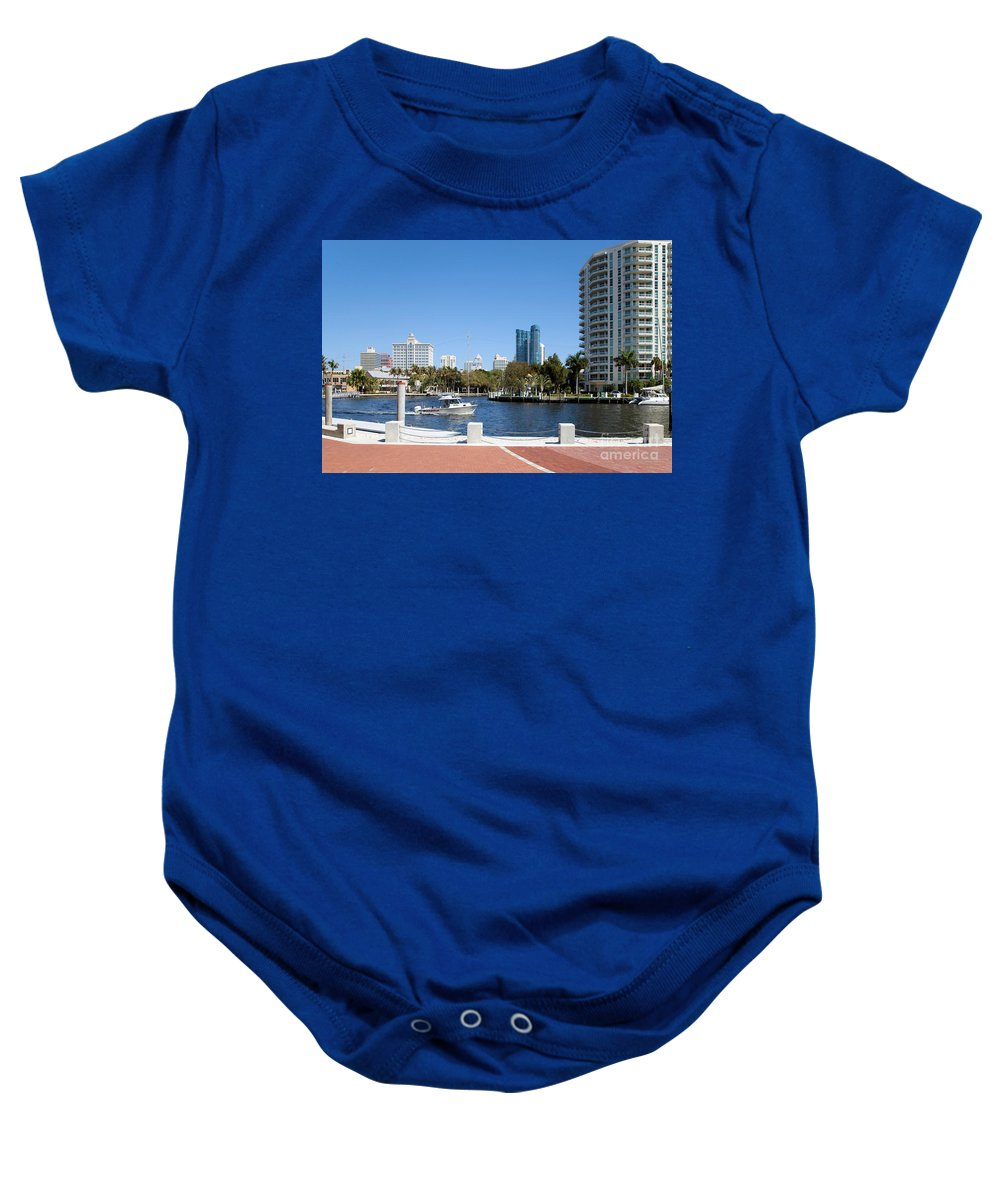 Esplanade Baby Onesie featuring the photograph New River In Fort Lauderdale by Bill Cobb