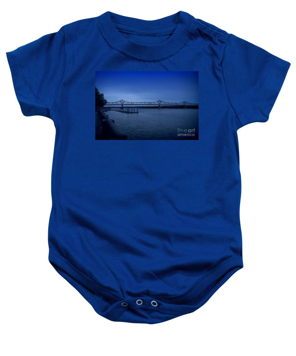 Blue Baby Onesie featuring the photograph Night Fall On The Illinois River by Thomas Woolworth