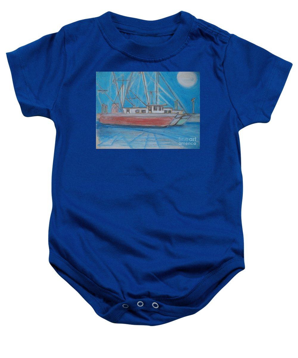 Night Baby Onesie featuring the painting Night Fishing by Eric Schiabor