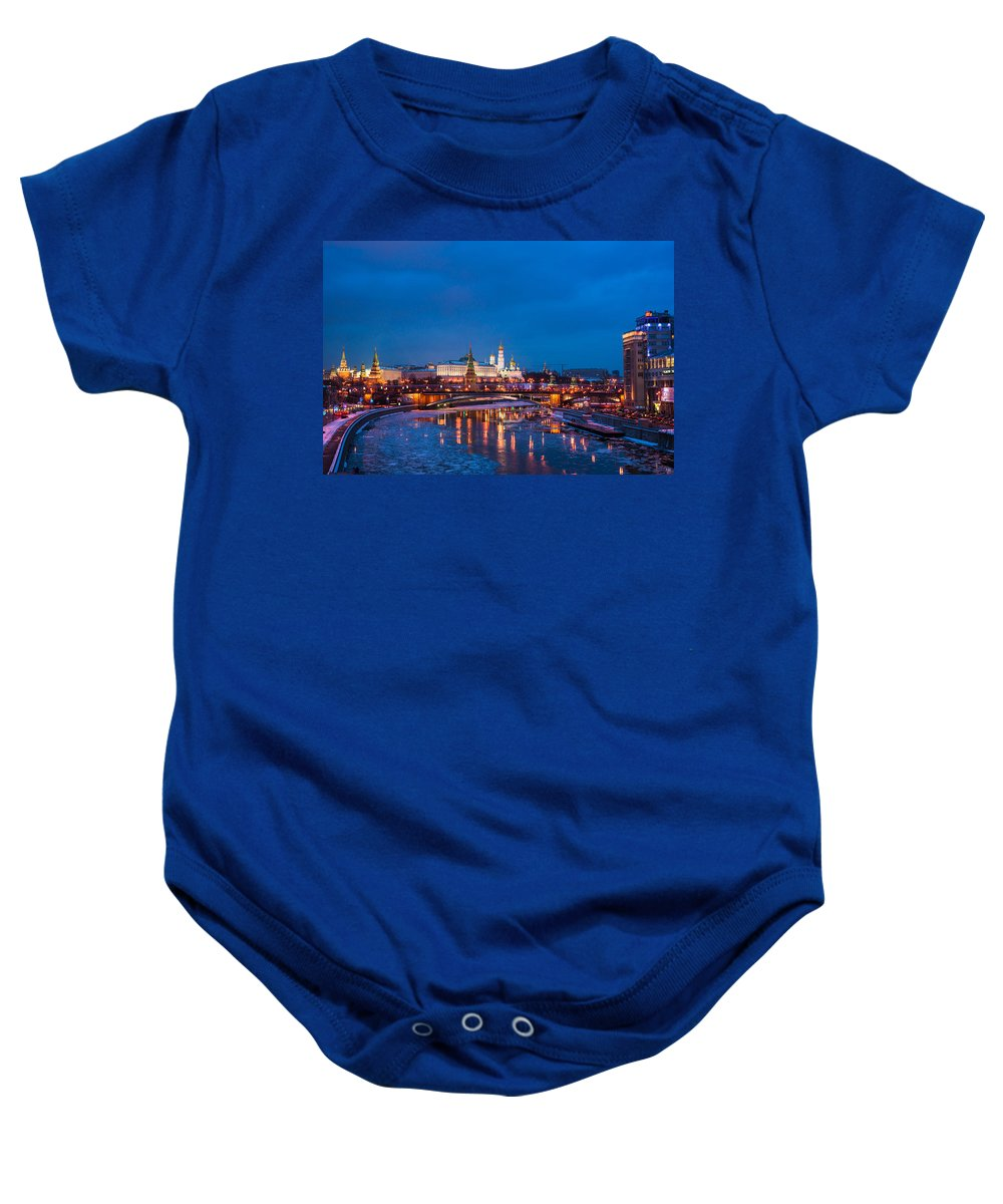Architecture Baby Onesie featuring the photograph Night View Of Moscow Kremlin In Wintertime - Featured 3 by Alexander Senin