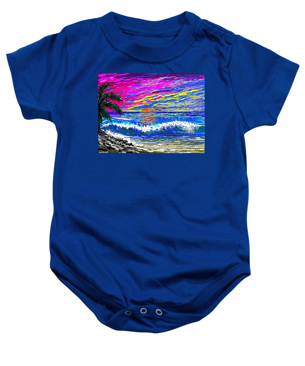 Ocean Sunset Quickly Sketched In 3 Hours. Baby Onesie featuring the digital art Ocean Sunset by Larry Lehman