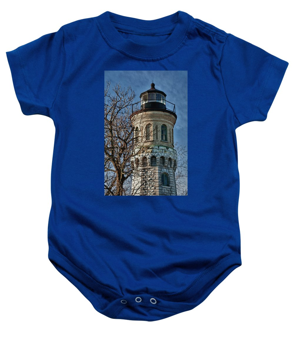 Lighthouse Baby Onesie featuring the photograph Old Fort Niagara Lighthouse 4484 by Guy Whiteley