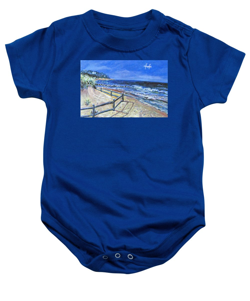 Seascape. Old Silver Beach Baby Onesie featuring the painting Old Silver Beach by Rita Brown