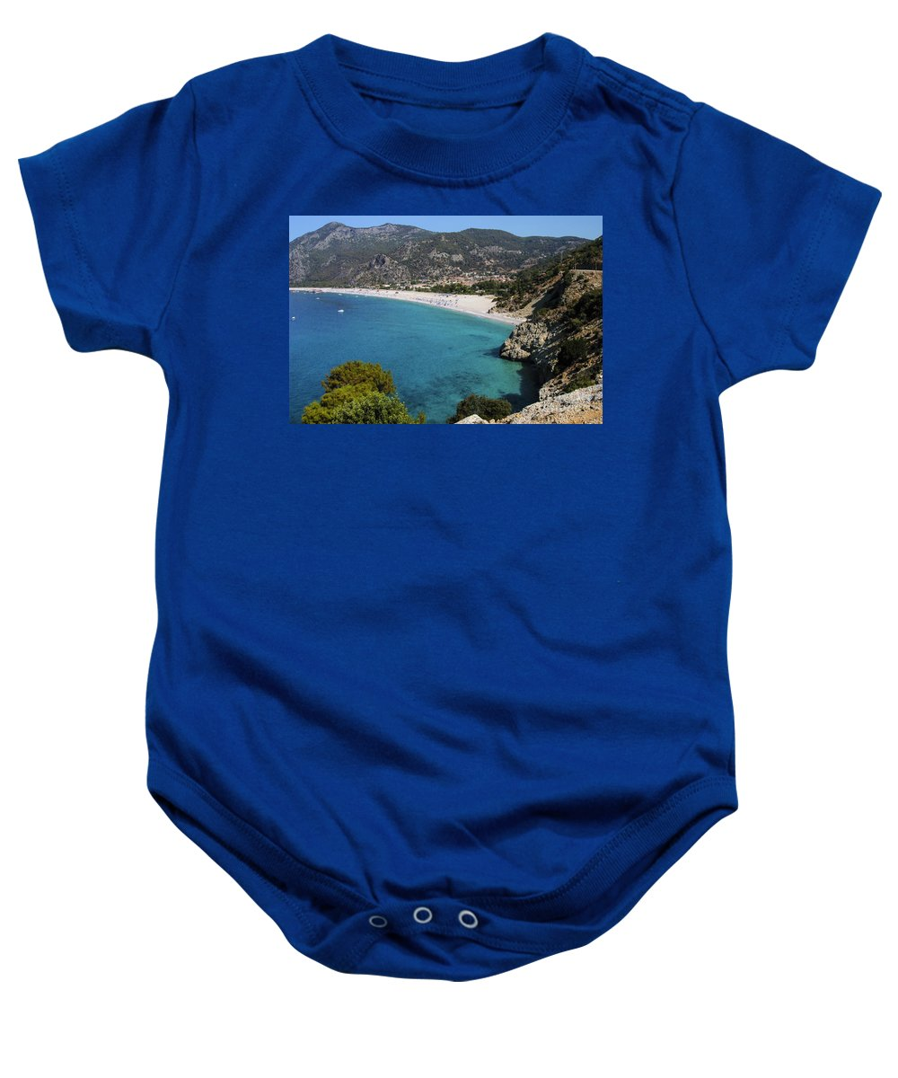 Öludeniz Beach Turkey Beaches Water Sand Mountains City Cities Building Buildings Landscape Landscapes Waterscape Baby Onesie featuring the photograph Oludeniz Beach by Bob Phillips