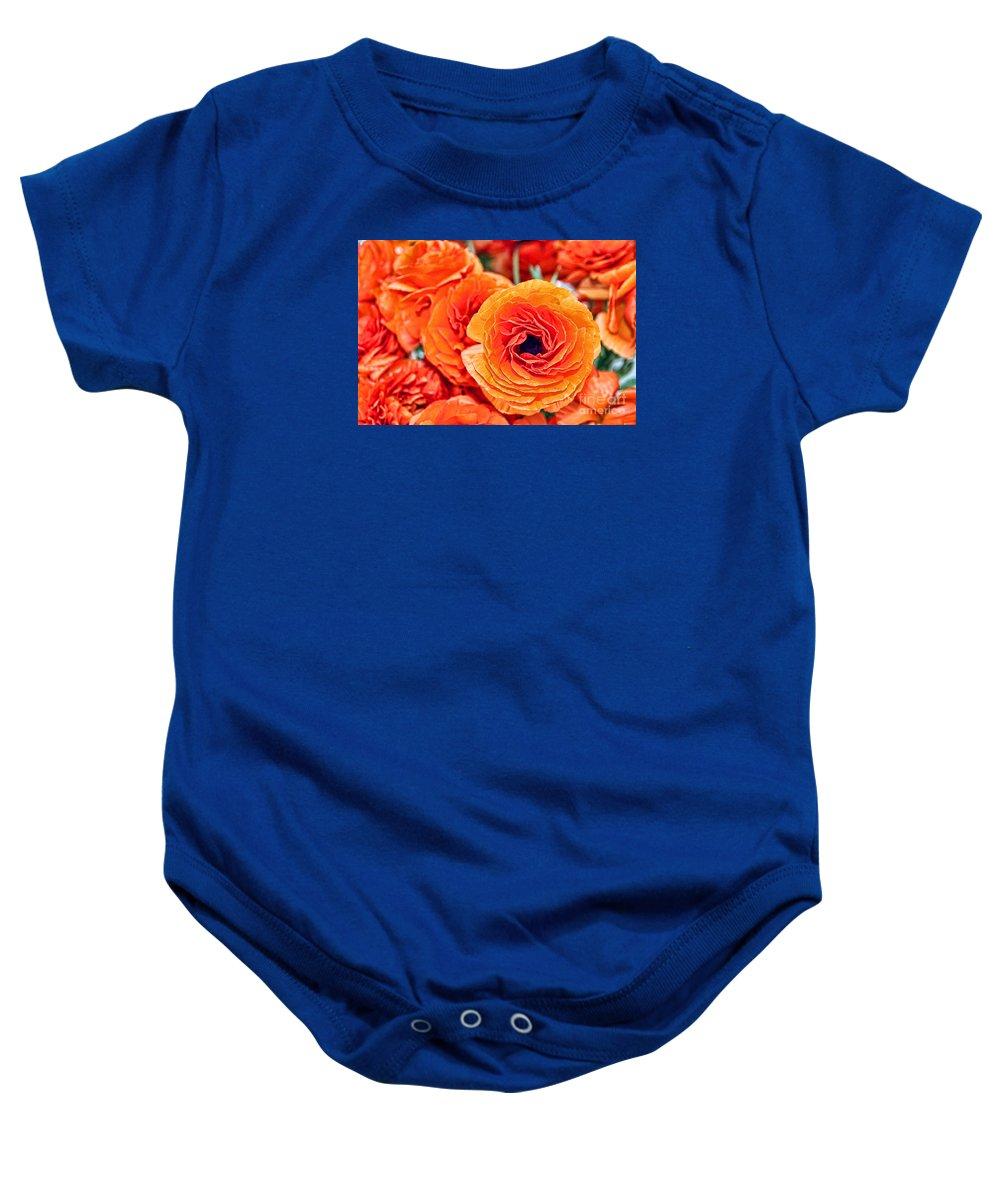 Ranunculus Baby Onesie featuring the photograph Orange You Happy Ranunculus Flowers By Diana Sainz by Diana Raquel Sainz