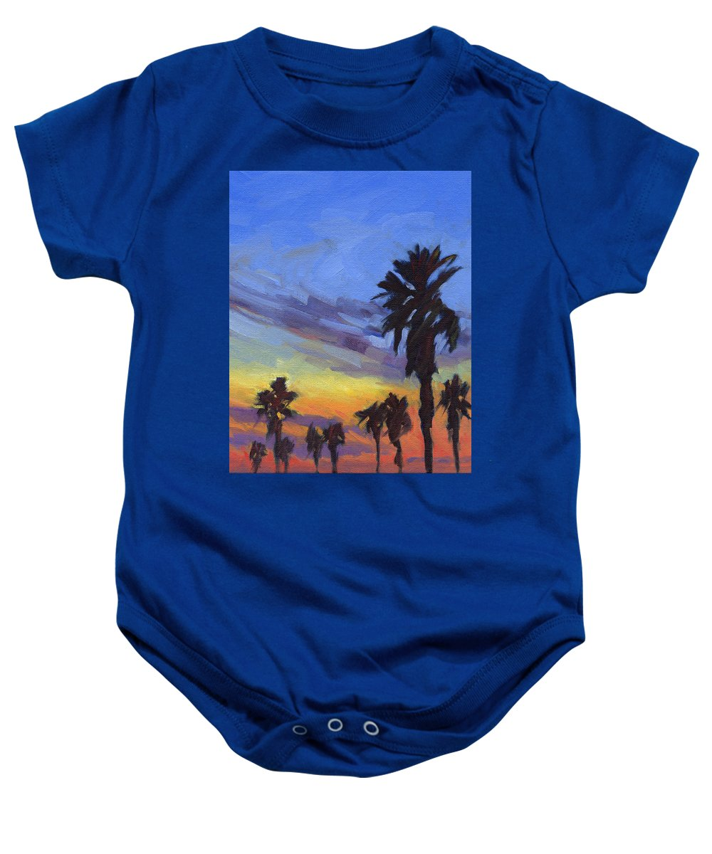 Sunset Baby Onesie featuring the painting Pacific Sunset 2 by Konnie Kim