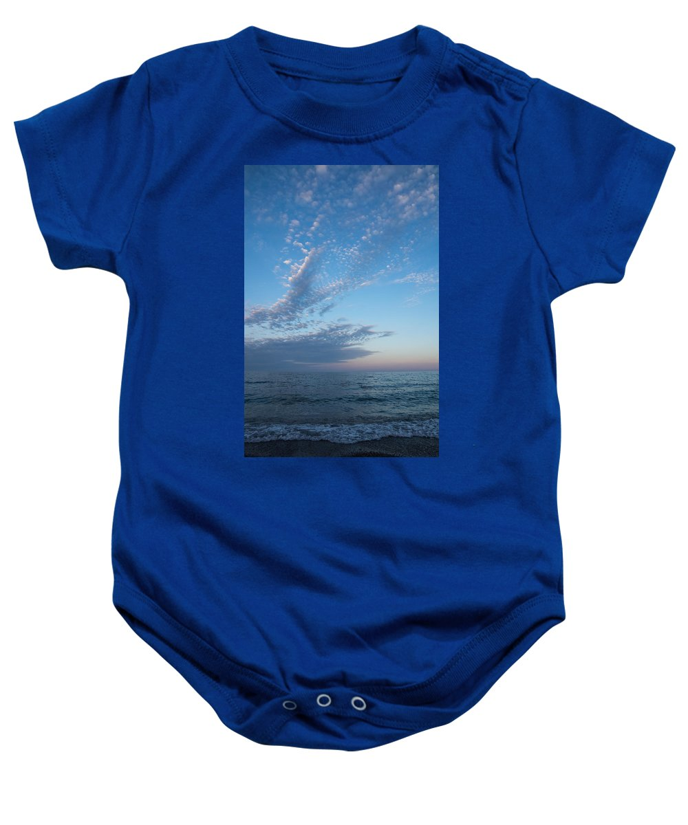 Pale Blues Baby Onesie featuring the photograph Pale Blues And Feathery Clouds In The Fading Light by Georgia Mizuleva