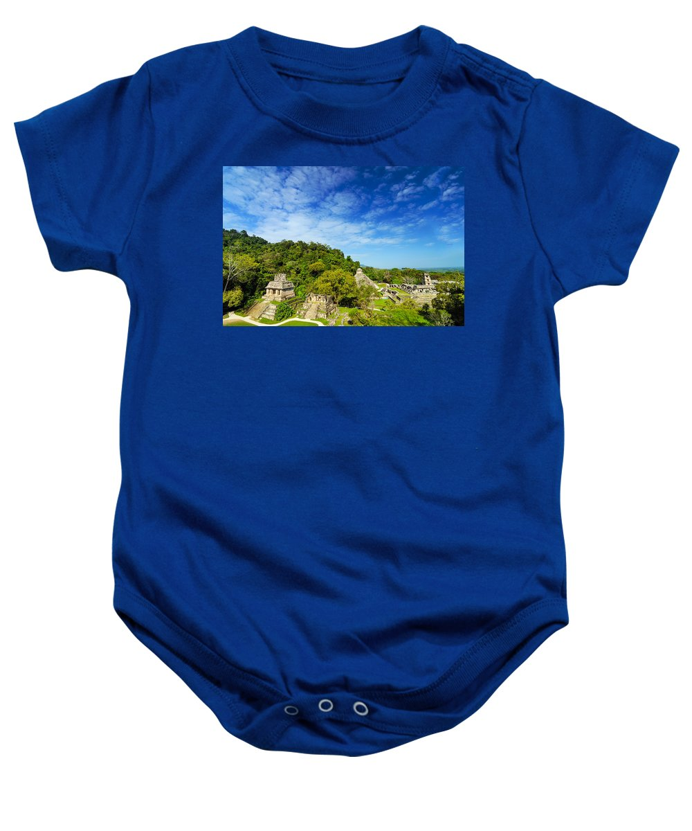 Palenque Baby Onesie featuring the photograph Palenque View by Jess Kraft