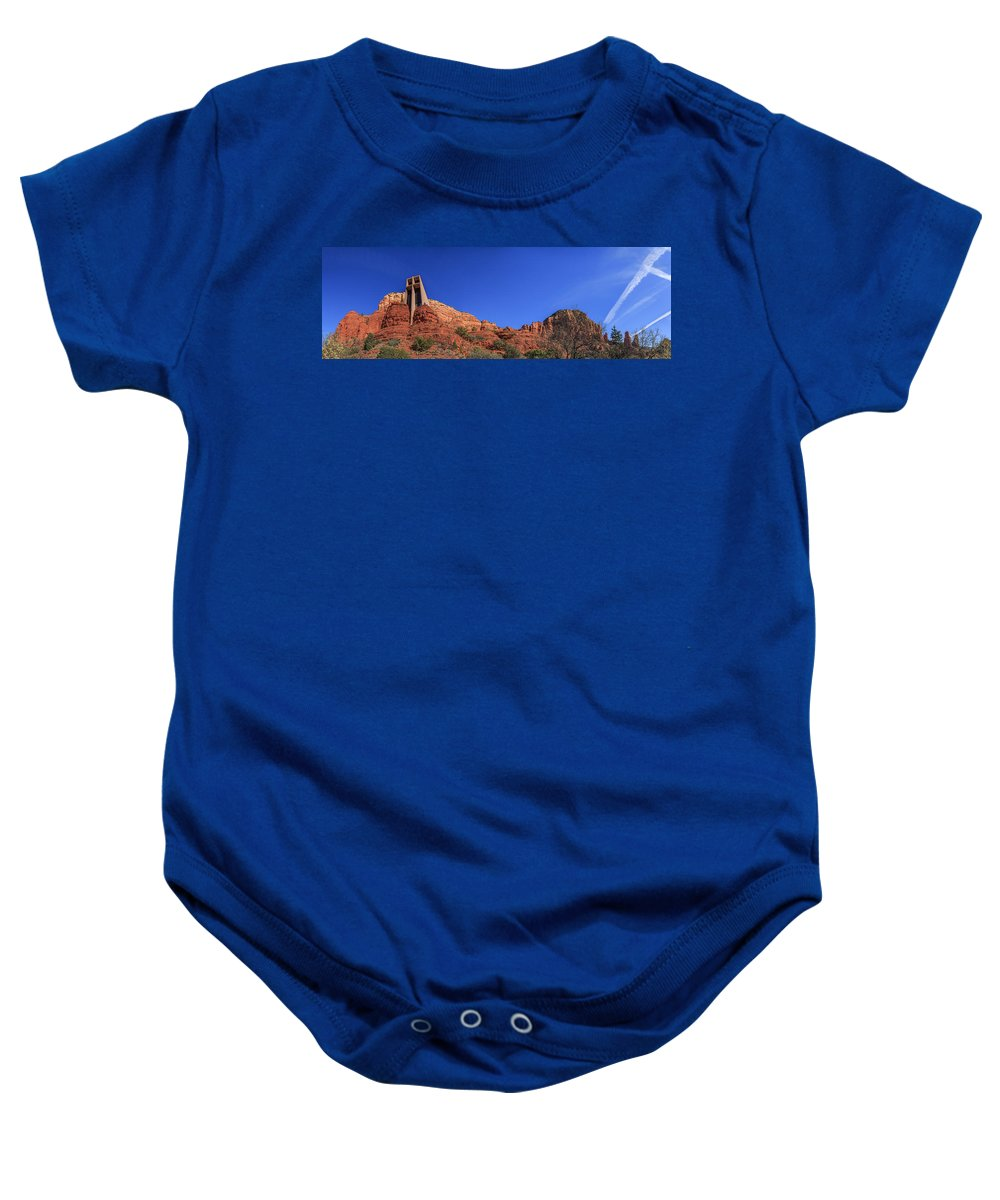 Cross Baby Onesie featuring the photograph Panorama Chapel Of The Holy Cross Sedona Az by Scott Campbell